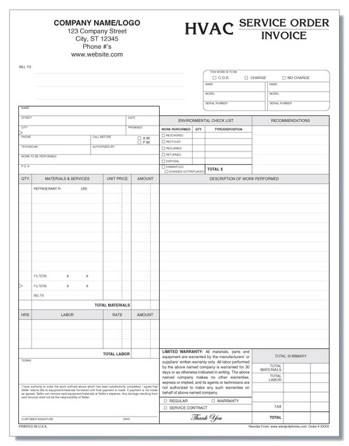 HVAC Service Order Invoice Version 2