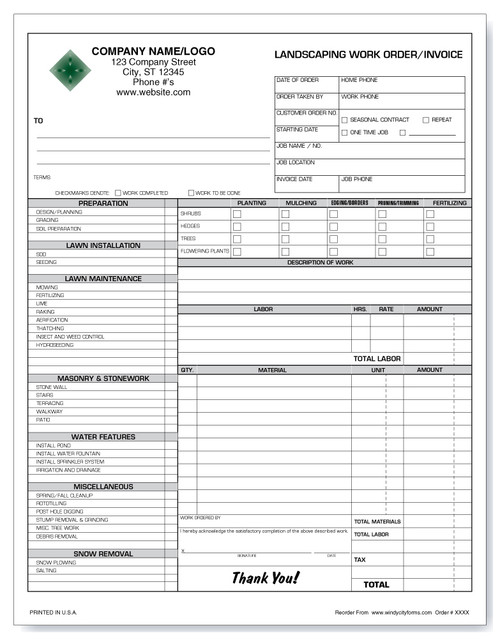 Landscaping Work Order/Invoice Version 2