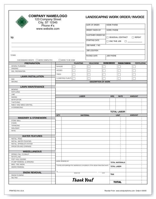 Landscaping Work Order/Invoice Version 2