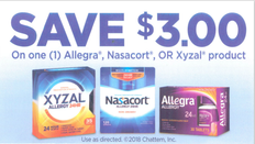 ALLEGRA, NASACORT, OR XYZAL PRODUCT, ANY $3.00/1 EXP - 12/31/2023