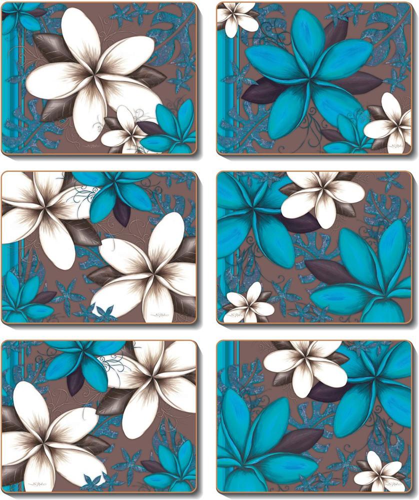 Aqua Frangipani Coasters