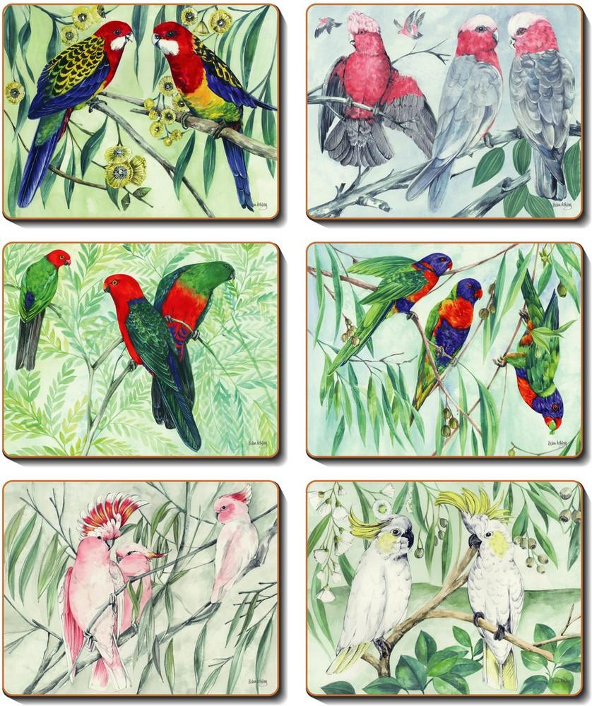 Australian Parrots Placemats Cinnamon Table