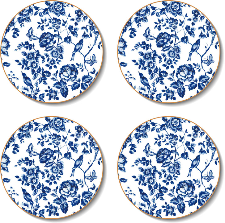 Round French Rose Toile Coasters