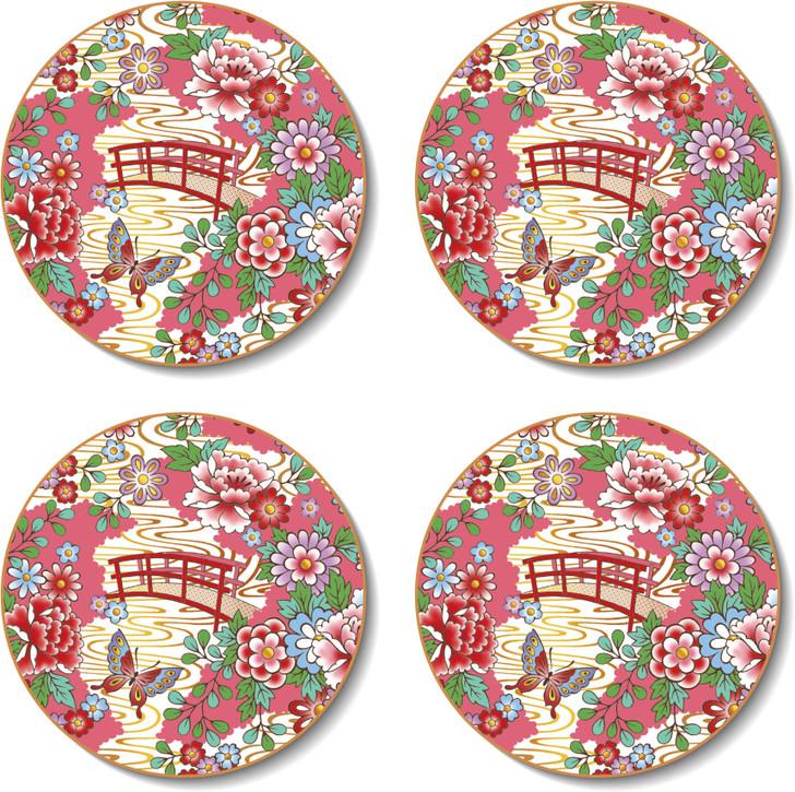 Round Japanese Kimono Coasters