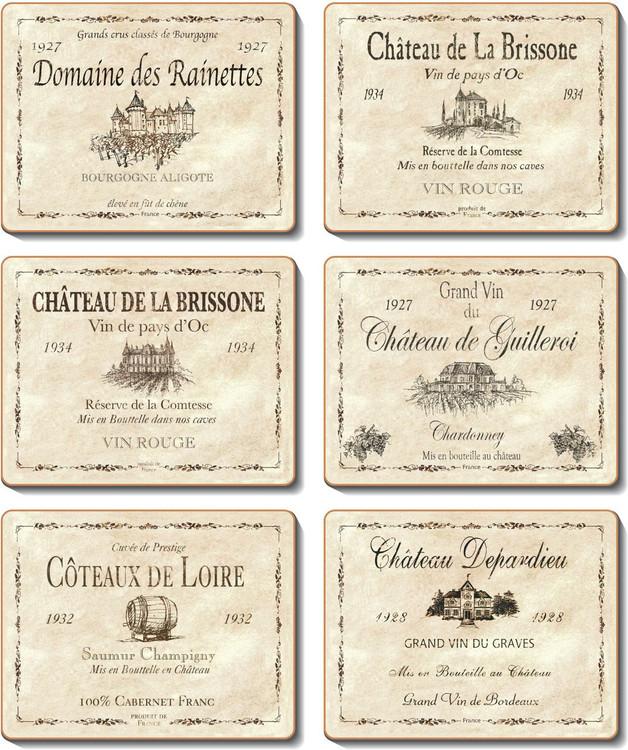 Wine Labels Coasters Cinnamon Table