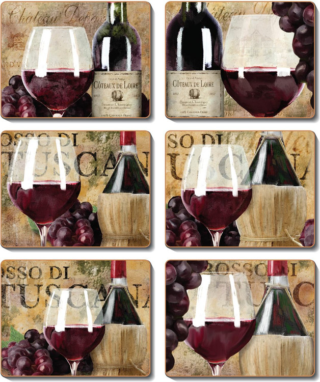 Old World Wine Labels Coasters