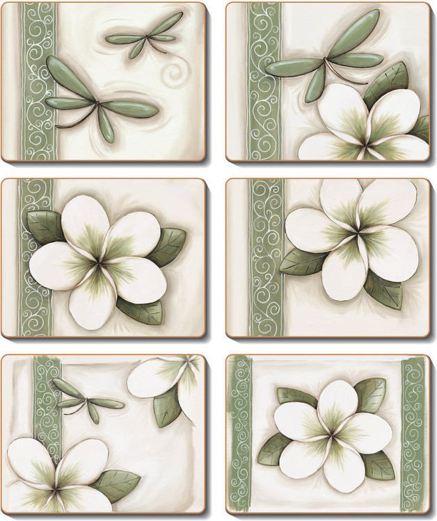 Green Frangipani Coasters