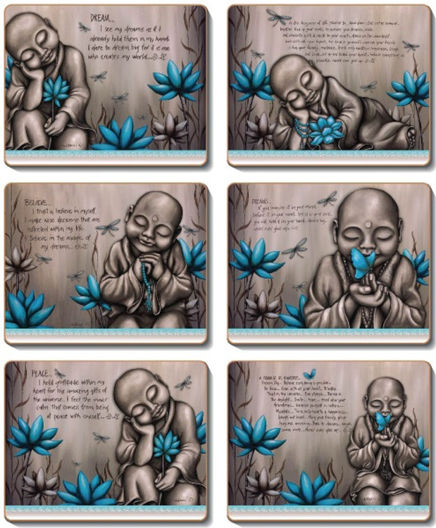 From The Soul Monk Blue Coasters