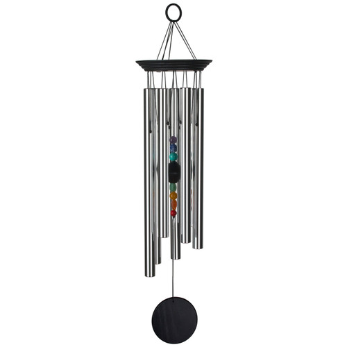 Chakra Stone Wind Chime with Black Top Piece and Windcatcher