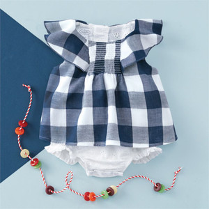 Mud Pie Womens Red Tartan Plaid Long Sleeve One-Piece Crawler Infant