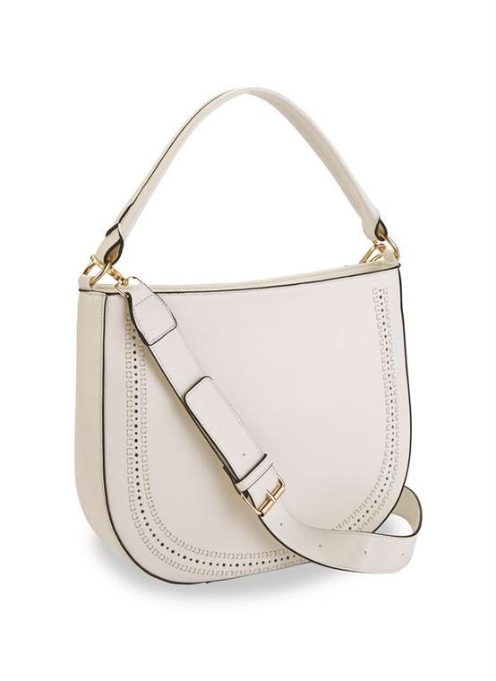 Mud Pie Faux Leather Messenger Handbag - WHITE