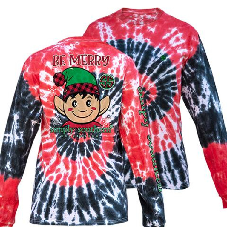 YOUTH Simply Southern Merry Elf Holiday Tie Dye Tee