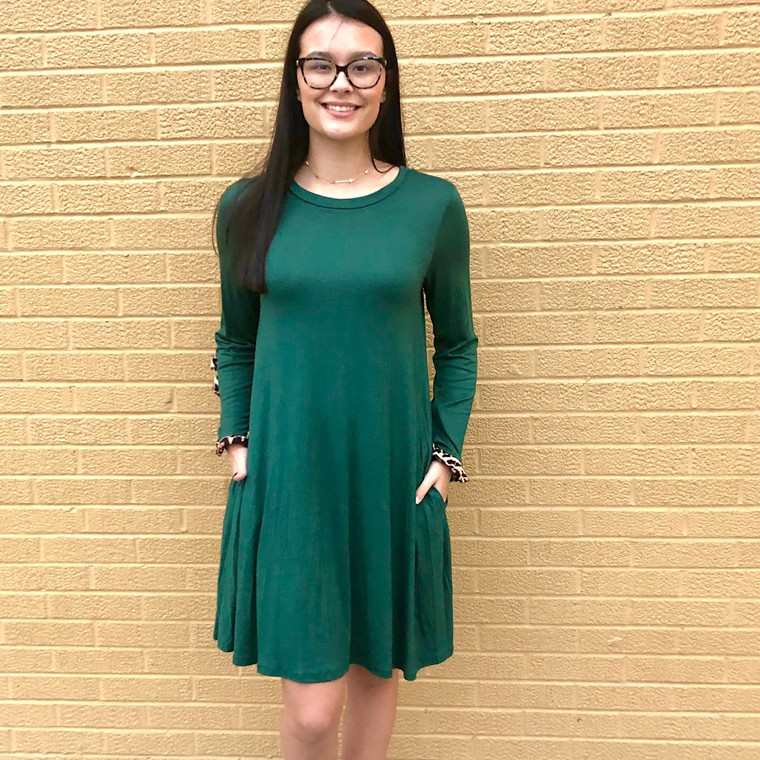 Leap in Time Dress - EVERGREEN