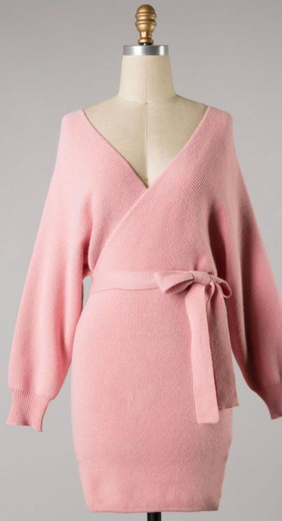 Betsey Tie Sweater Tunic Dress - Blush