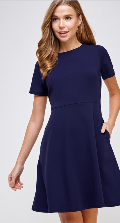 Nell Flare Dress Navy