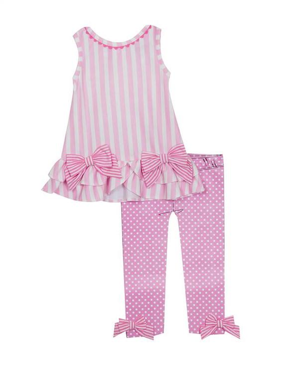 Pink Stripe Top Dotted Legging Set