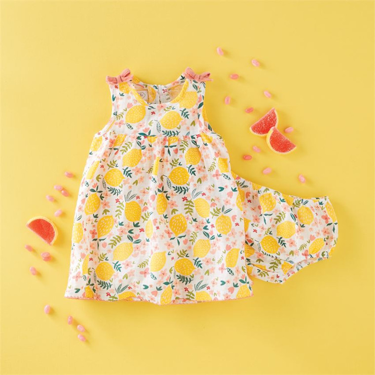 Mud Pie Lemon Floral Dress Set