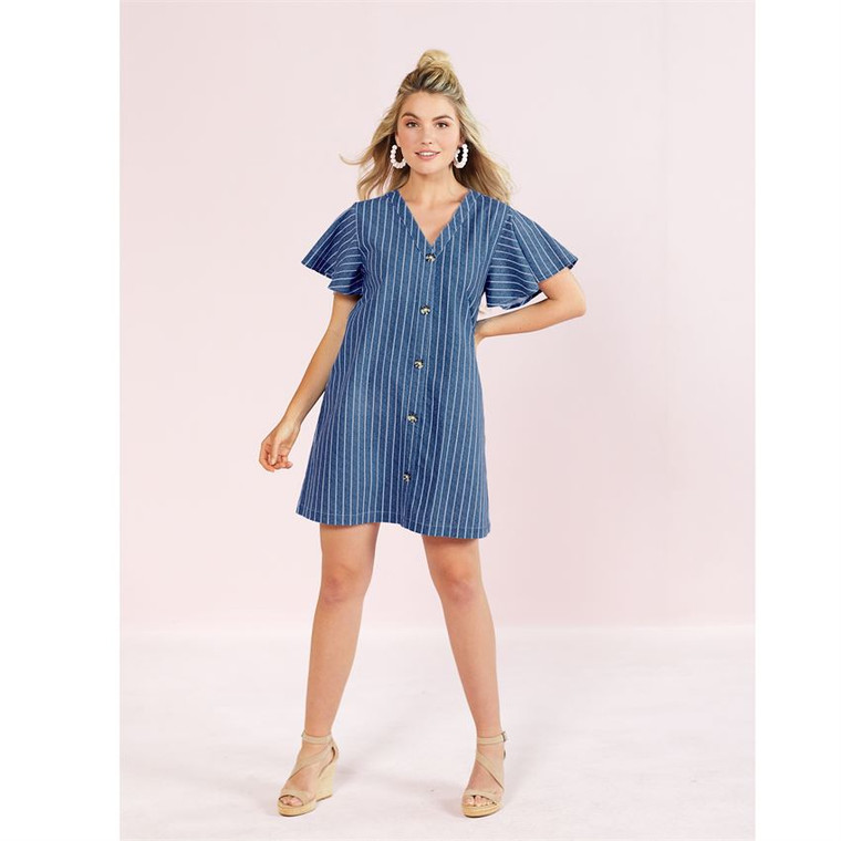 Mud Pie Eva Button Dress - Blue Stripe