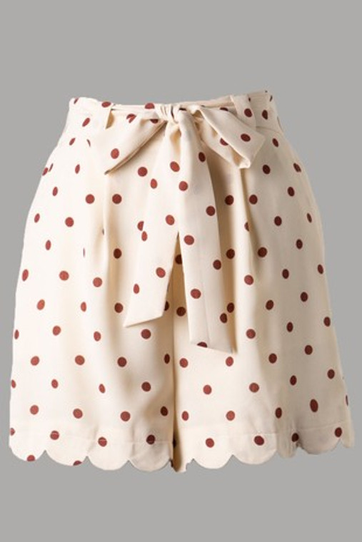 Mary Polka Dot Scallop Tie Shorts