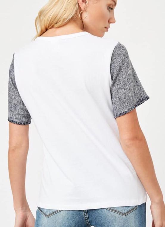 Wilson White Tweed Frayed Sleeve Top