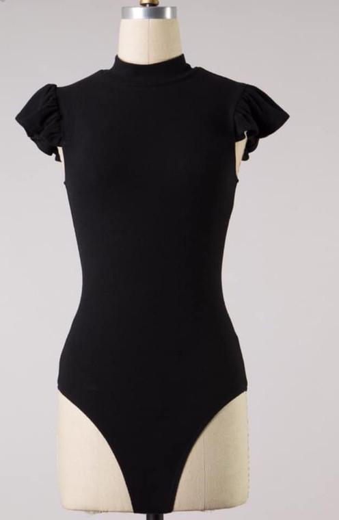 Della Ruffle Sleeve Bodysuit - Black