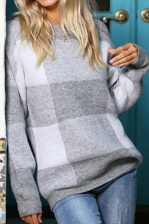 Gemma Grey Plaid Sweater