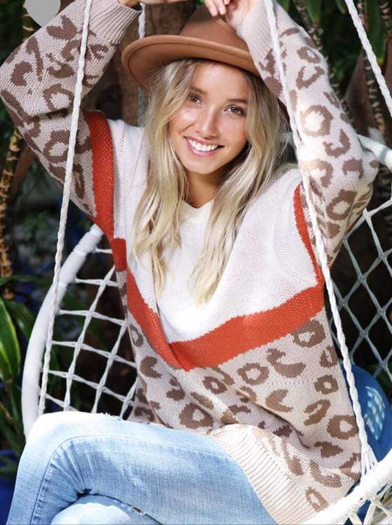Madeline Leopard Colorblock Sweater Mocha
