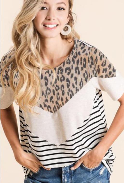 Norma Leopard Stripe Top