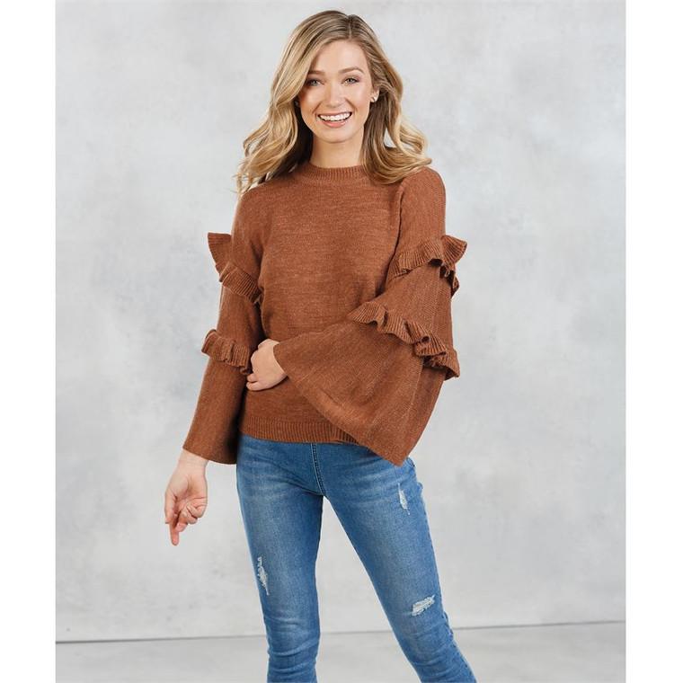 Mud Pie Ramsey Ruffle Sweater - Rust