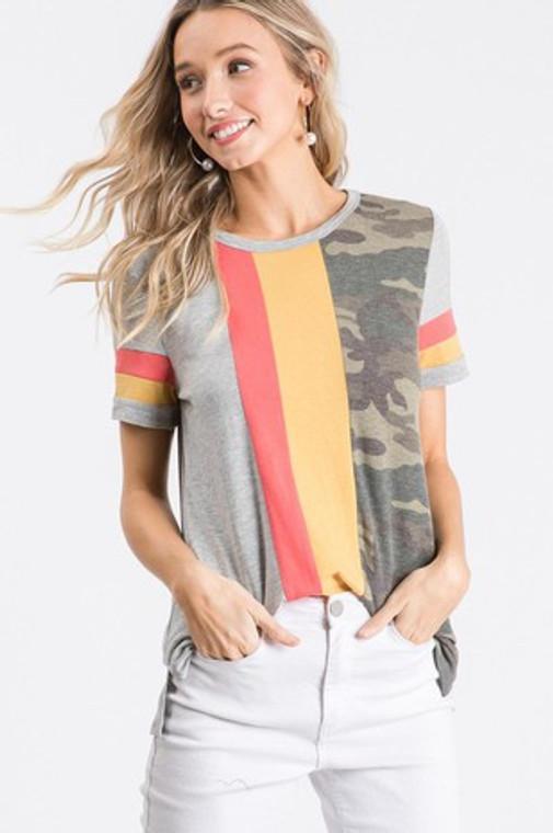 Merle Camo Colorblock Stripe Top