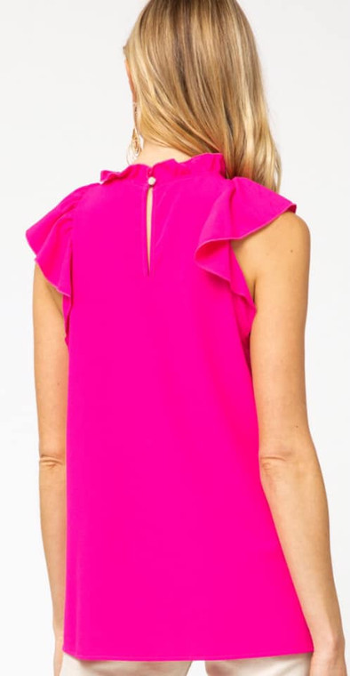 Murphy Flutter Sleeve Top - Hot Pink