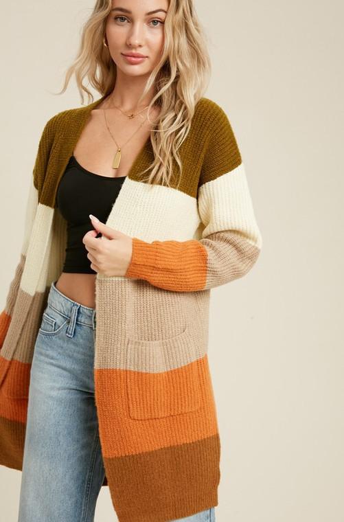 Florence Colorblock Pocket Cardigan - Pumpkin