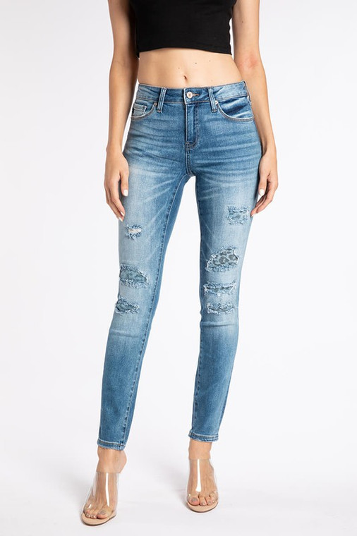 Kara Distressed Leopard KanCan Jeans