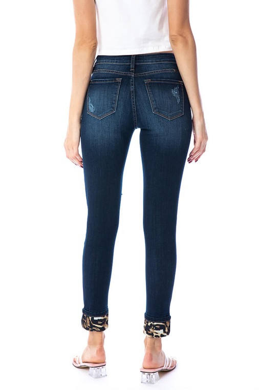 Libby Distressed Leopard Patch KanCan Jeans