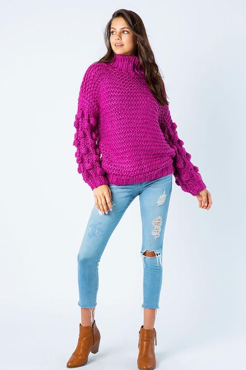 Violet Pom Pom Sleeve Sweater - Fuchsia