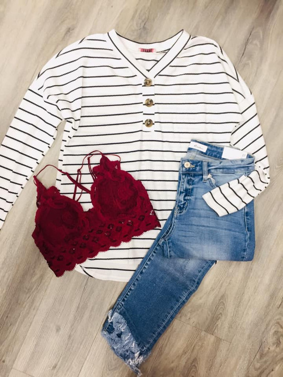Zelda Stripe Button Top