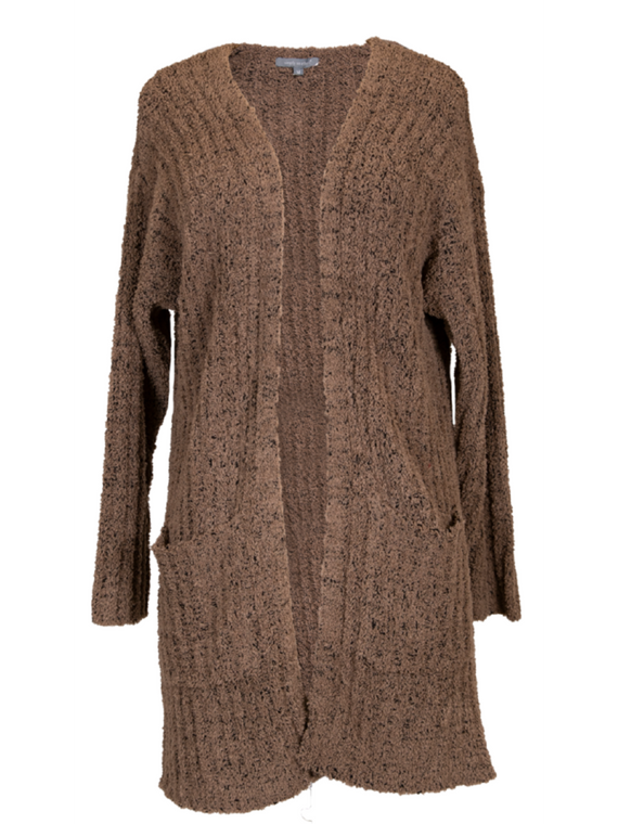 Simply Southern Chenille Pocket Cardigan - Brown