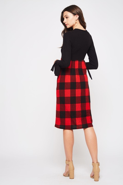 Vaughn Buffalo Plaid  Midi Sweater Dress - Red