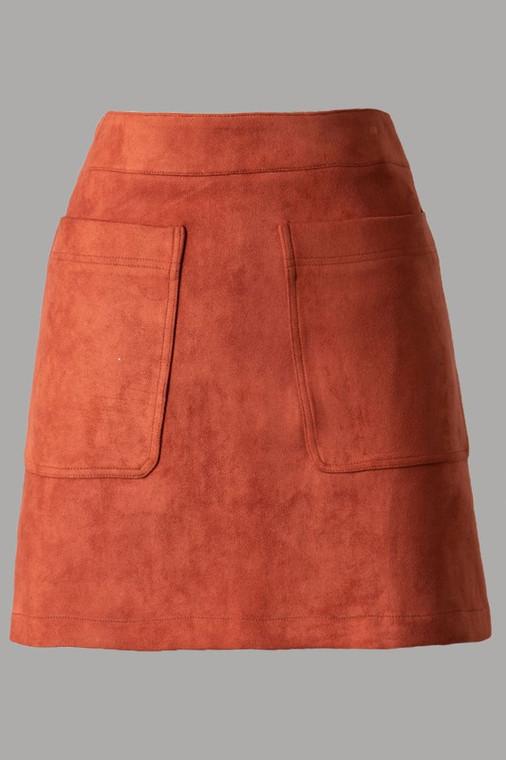 Winstead High Rise Pocket Skirt - Burnt Orange