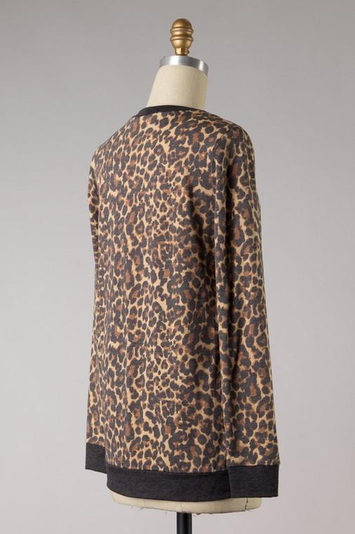 Clark Leopard Print Knit Top
