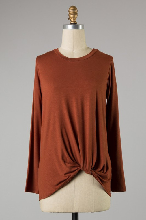 Marnie Knotted Knit Top - Cognac