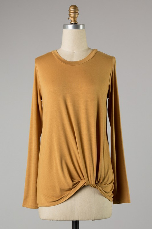 Marnie Knotted Knit Top - Camel