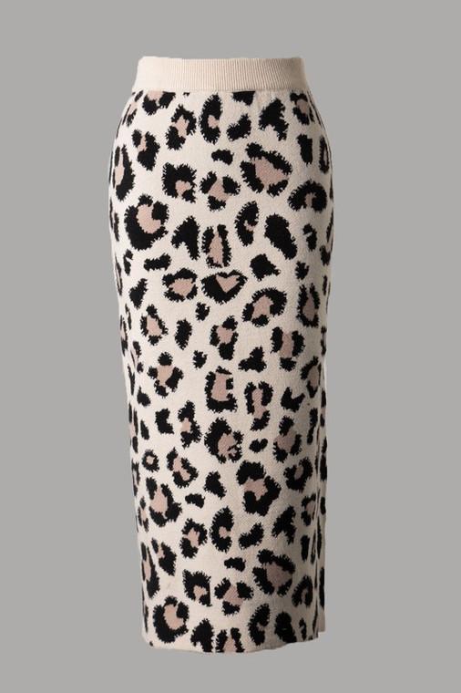 Catharine Leopard Knit Skirt - Ivory