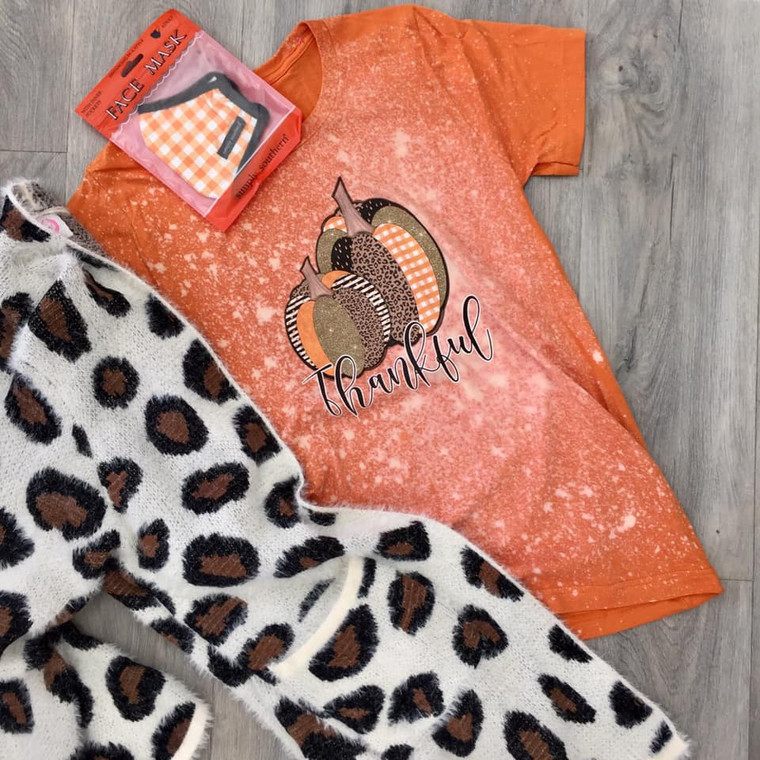 Thankful Leopard Pumpkin Acid Wash Tee