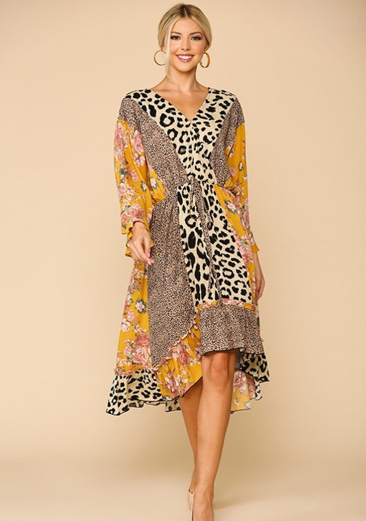Nelson Leopard Floral Hi Low Midi Dress - Gold