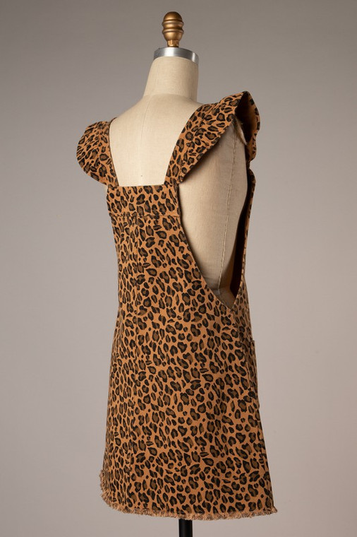 Leila Leopard Ruffle Button Down Jumper Dress