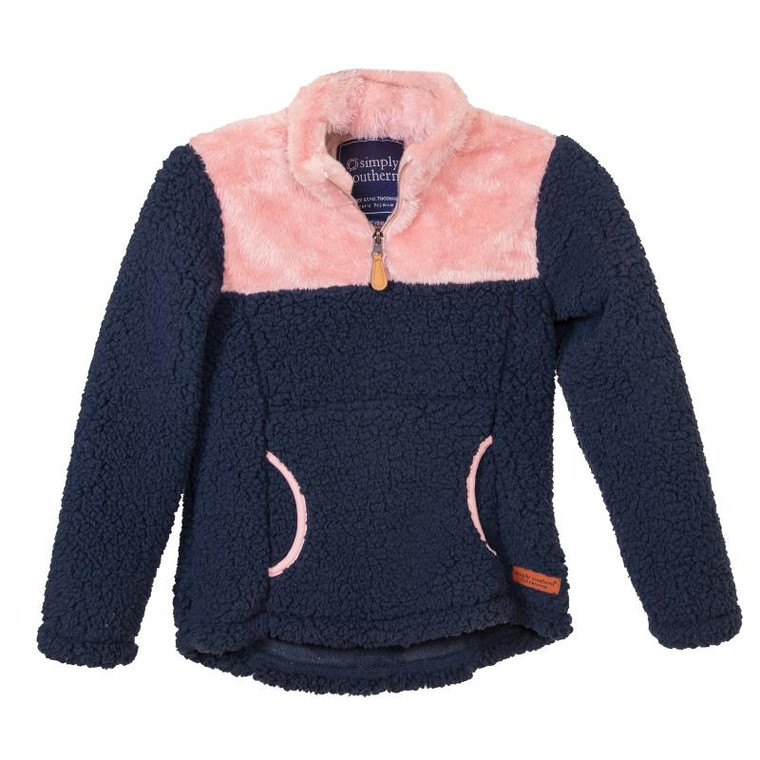 Simply Southern Youth Sherpa Pullover - Navy