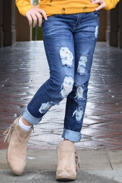 Tween Medium Blue Distressed Jeans
