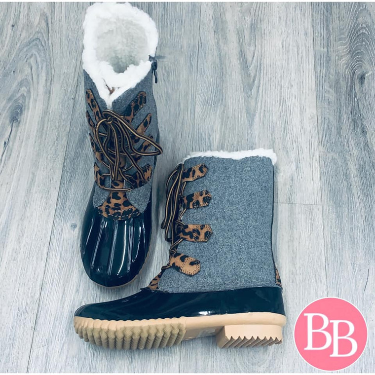 Chill Gray Leopard Sherpa Lined Duck Boots