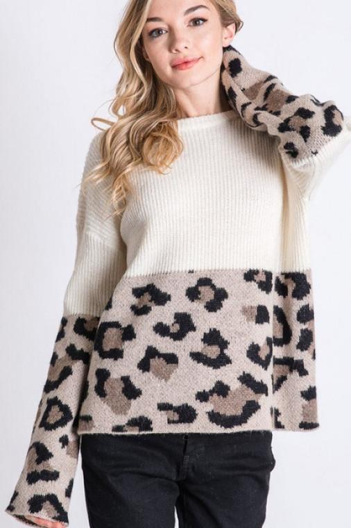 Rhett Cream Leopard Colorblock Sweater
